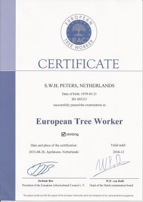 peters bomenservice, beek, limburg, certificaat, european tree worker