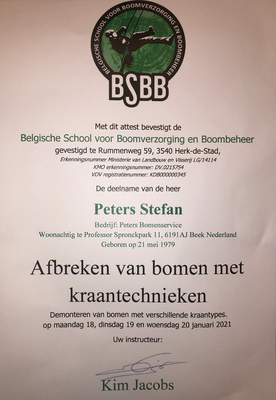 BSBB Certificaat, peters bomen service, neerbeek, zuid limburg, veiligheid